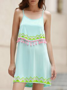 Ethnic Print Cami Fringe Dress - Light Blue S