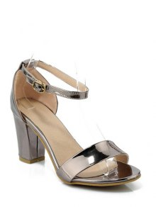 Solid Color Ankle Strap Chunky Heel Sandals - Gun Metal