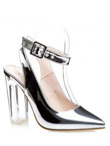 Buy Slingback Crystal Heel Pointed Toe Pumps 37 SILVER
