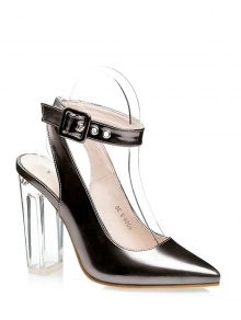 Buy Slingback Crystal Heel Pointed Toe Pumps 37 GUN METAL