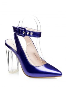 Buy Slingback Crystal Heel Pointed Toe Pumps 37 BLUE