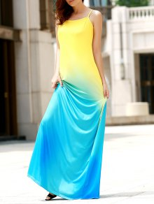 Halter Gradient Color Long Dress - L