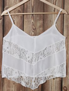 Buy Lace Splice Cami See-Through Tank Top - WHITE M