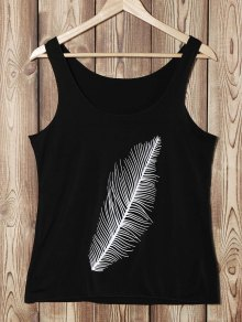 Feather Print U Neck Sleeveless Tank Top