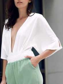 Solid Color Waisted Corset Plunging Neck Bat-Wing Sleeve Playsuit - White