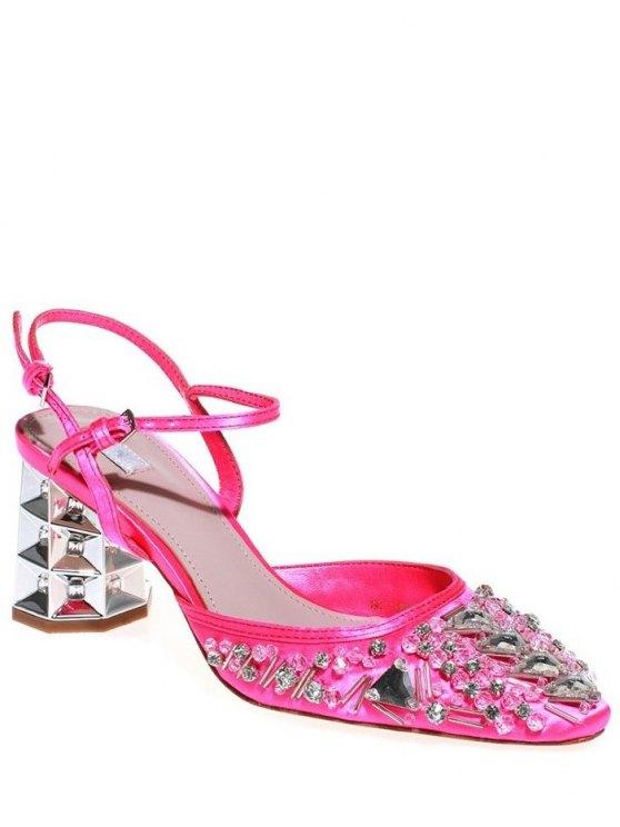 fancy Rhinestone Satin Chunky Heel Sandals - ROSE 36