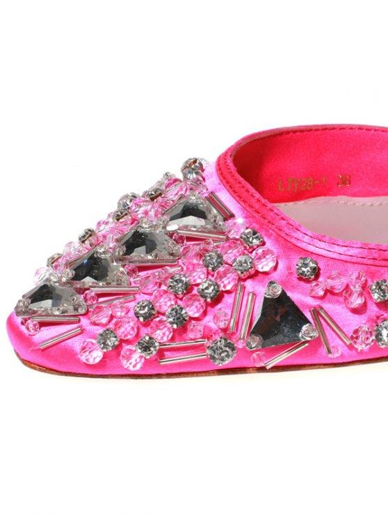 Rhinestone Satin Chunky Heel Sandals - ROSE 36 Mobile
