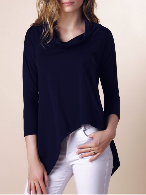 Purple Half Sleeve Asymmetry T-Shirt - DEEP BLUE L Mobile