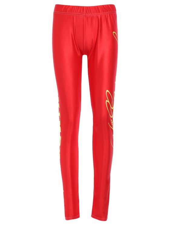 sale Side Letter Print Active Leggings - RED XL