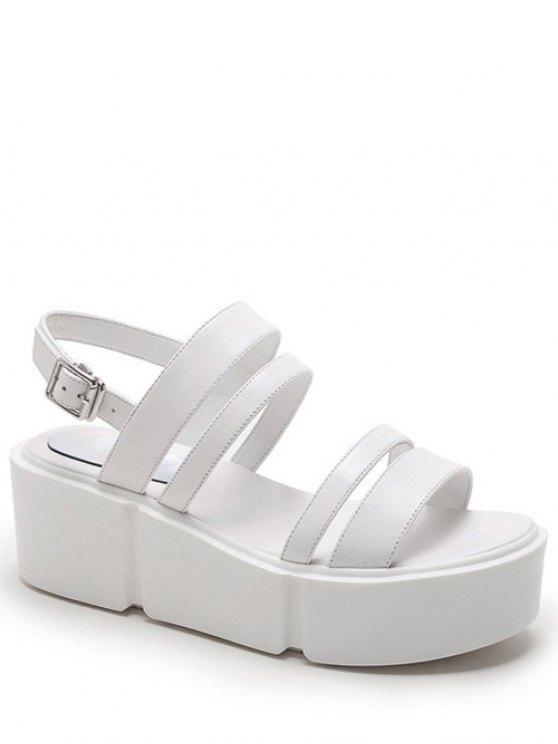 Platform Solid Color Genuine Leather Sandals - WHITE 36 Mobile