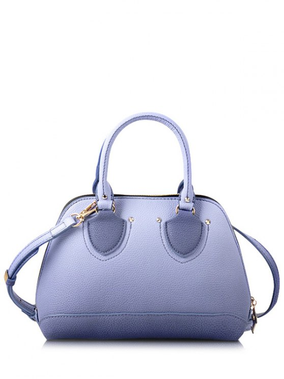 hot Stitching Rivet Solid Color Tote Bag - PURPLE
