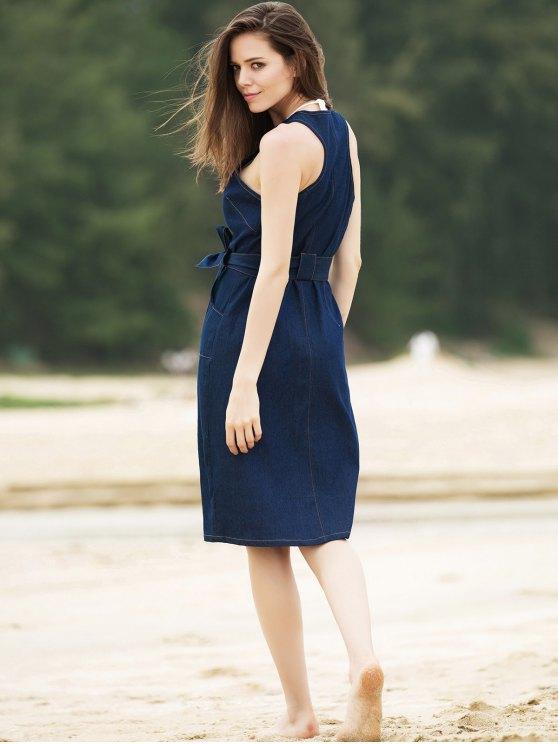 Stylish Round Collar Sleeveless Zipper Fly Belted Slit Denim Dress For Women - DENIM BLUE L Mobile