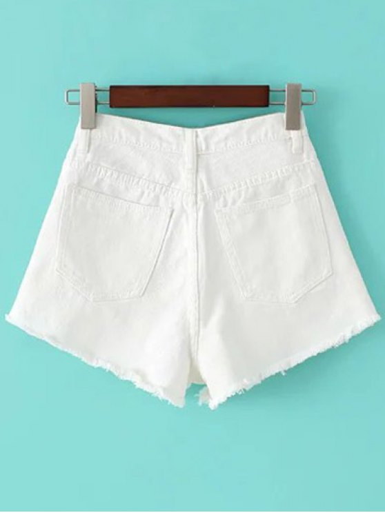 Fringe High Waist Denim Shorts - WHITE 25 Mobile