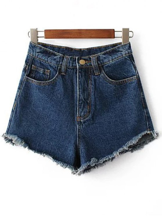 Fringe High Waist Denim Shorts - DEEP BLUE 27 Mobile