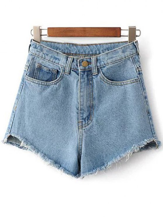 Fringe High Waist Denim Shorts LIGHT BLUE: Shorts | ZAFUL