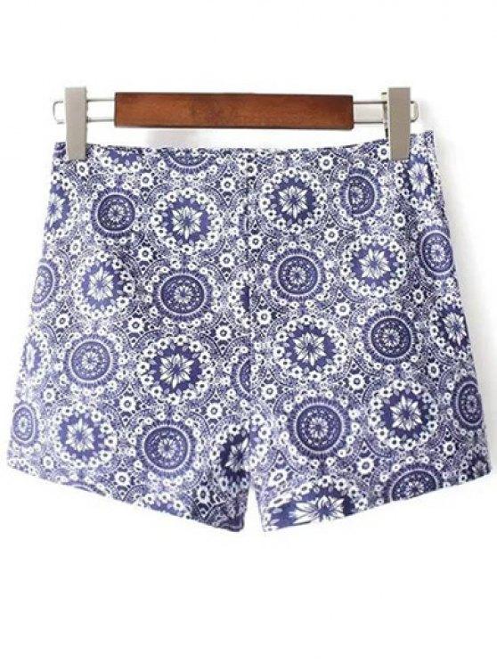 Tiny impresión floral pantalones cortos de cintura alta - Azul 38