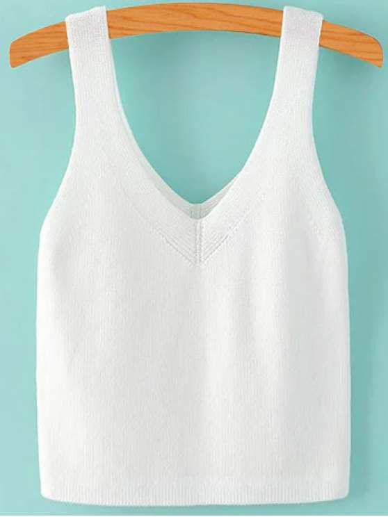 Pure Color V Neck Knit Tank Top - WHITE M Mobile