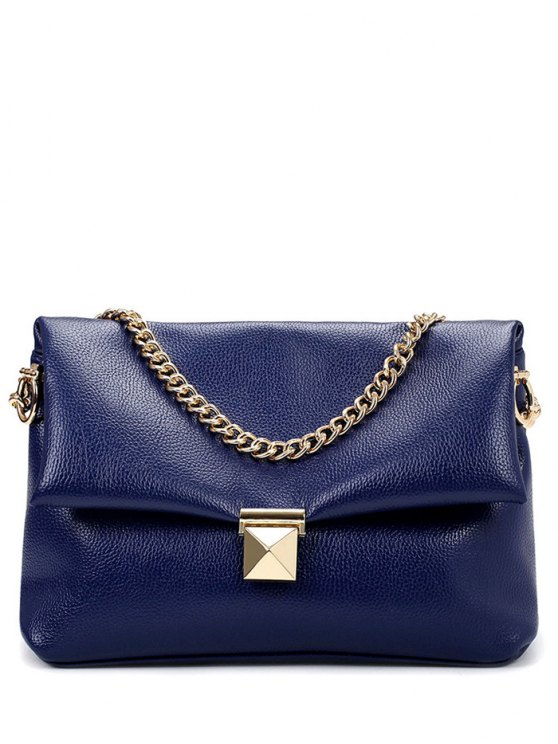 womens Chain Metal Solid Color Shoulder Bag - BLUE