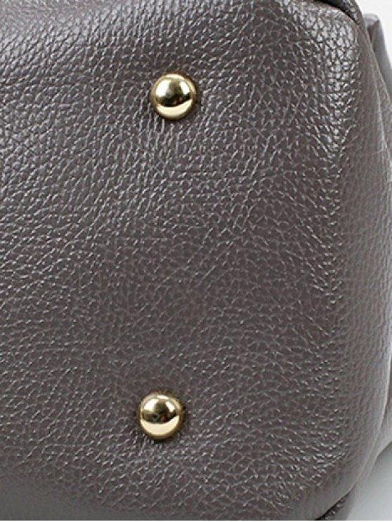 Chain Metal Solid Color Shoulder Bag - BLACK  Mobile