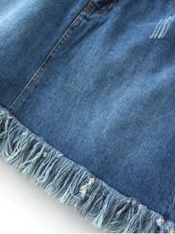 Rough Selvedge Zipper Fly Denim Mini Skirt - BLUE L Mobile