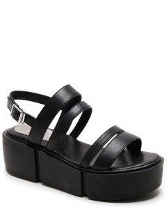 Platform Solid Color Genuine Leather Sandals - Black 38