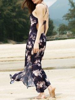 Criss Cross Backless Floral Bohemian Swing Dress - Black L