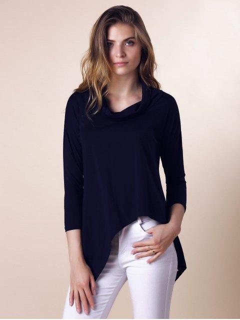 lady Purple Half Sleeve Asymmetry T-Shirt - DEEP BLUE S Mobile