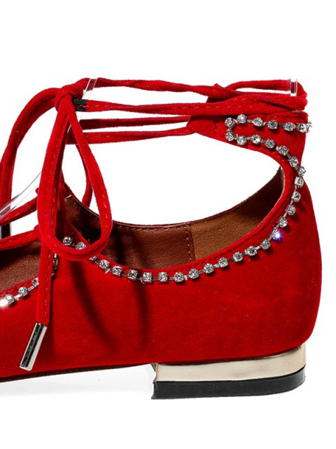 outfits Flock Rhinestone Lace-Up Flat Shoes - RED 34 Mobile