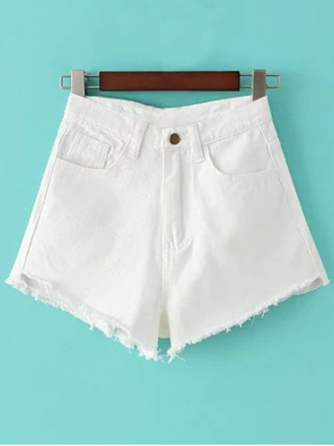 ladies Fringe High Waist Denim Shorts - WHITE 24 Mobile