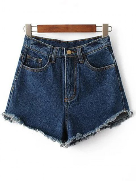 online Fringe High Waist Denim Shorts - DEEP BLUE 27 Mobile