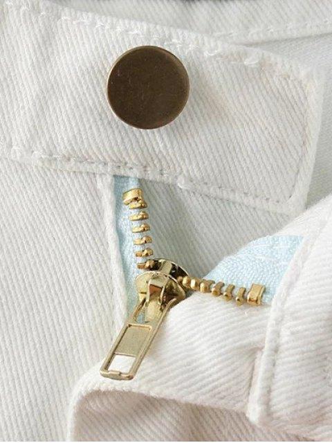 outfit Fringe High Waist Denim Shorts - DEEP BLUE 24 Mobile