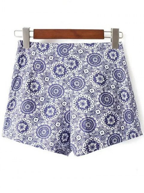 chic Tiny Floral Print High Waist Shorts - BLUE 38 Mobile