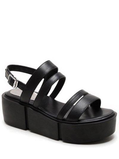 Platform Solid Color Genuine Leather Sandals