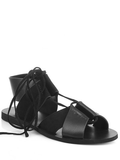 Lace-Up Black Flat Heel Sandals - Black