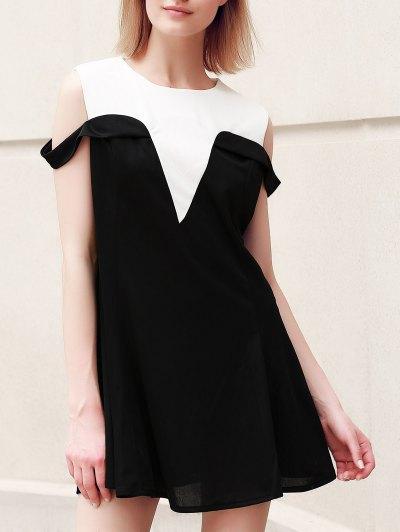 Casual Plus Size Jewel Neck Hit Color Dropped Shoulder Dress For Women - Black