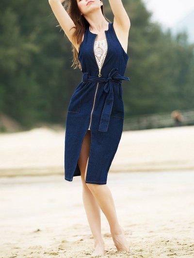 Stylish Round Collar Sleeveless Zipper Fly Belted Slit Denim Dress For Women - Denim Blue