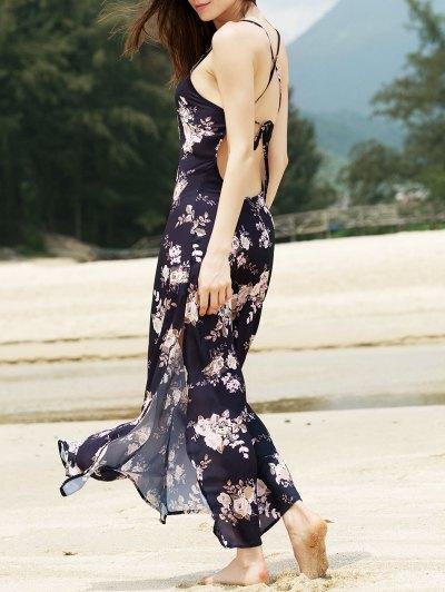 Sleeveless Flower Print Maxi Dress - Black