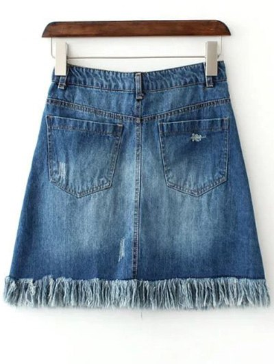 Rough Selvedge Zipper Fly Denim Mini Skirt - BLUE L Mobile