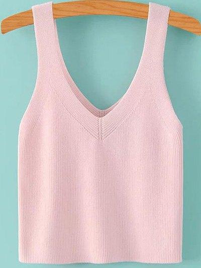 V Neck Pure Color Knit Tank Top