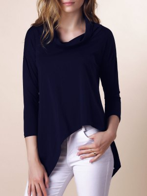 Purple Half Sleeve Asymmetry T-Shirt - Deep Blue