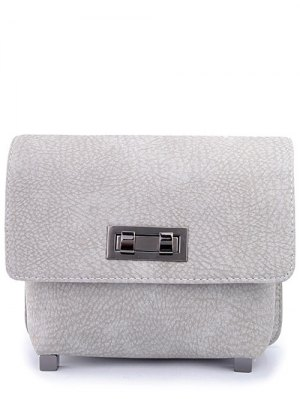Solid Color Embossing Hasp Crossbody Bag - Light Gray