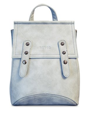 Solid Color Rivet PU Leather Satchel - Light Blue