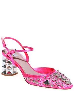 Rhinestone Satin Chunky Heel Sandals - Rose
