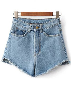 Fringe High Waist Denim Shorts - Light Blue