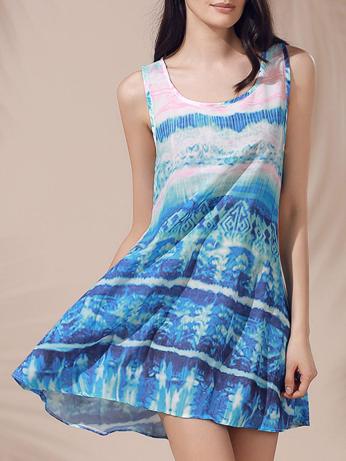 Scoop Neck Printed Sleeveless Sun Dress For Women