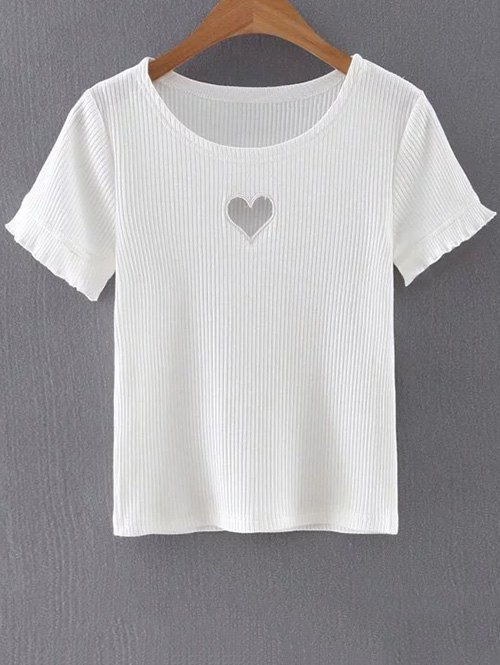 Round Neck Short Sleeve Slimming Cut Out T-Shirt