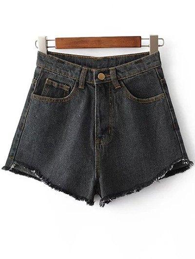 High Waist Fringe Denim Shorts