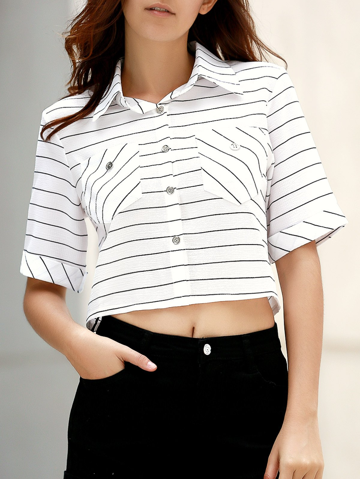 Pockets Striped Turn-Down Collar Half Sleeve ShirtClothes<br><br><br>Size: M<br>Color: WHITE