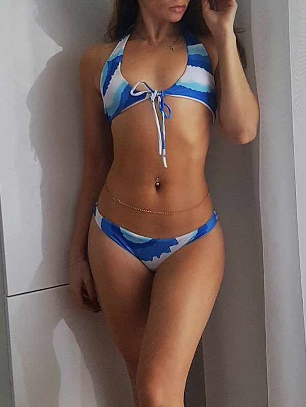 Lace-Up Halter Neck Printed String Bikini Set