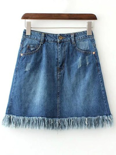Zipper Fly Rough Selvedge Denim Mini Skirt